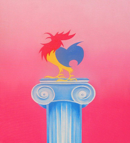 Primary Cock, oil painting from the series B is for Butch by Shelley Stefan, 2010