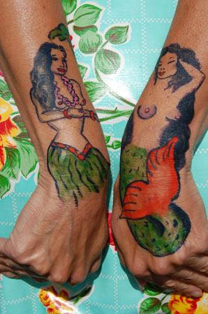 Temporary tattoo: hula mermaid by Chantz Perkins