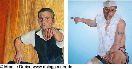 Paintings from the 'Doing Gender' series by Martina Minette Dreier