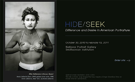 The Hide/Seek exhibition website