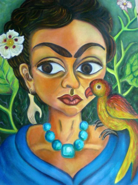 Hommage à Frida, 60cm x 45cm, painting by Edilène Bentzen