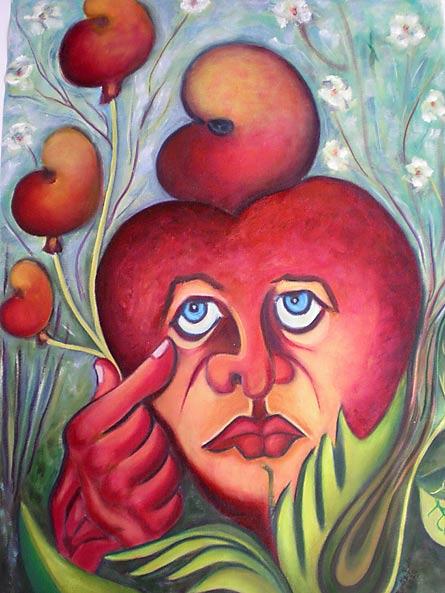 Le coeur poète, 60cm x 45cm, painting by Edilène Bentzen