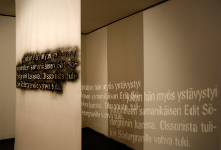 Text about Olsson, installation by Laura Lilja, 2010-11