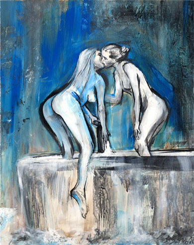'Bath girls', painting by Tess Sheerin