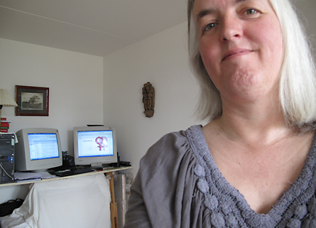 Birthe at her home office