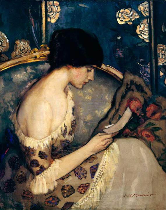 Girl on couch by Agnes Goodsir, 1915