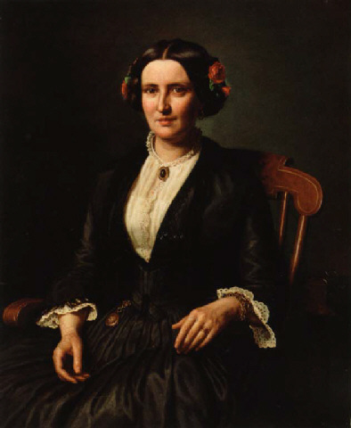 Aasta Hansteen (1853) woman with rose in her hair