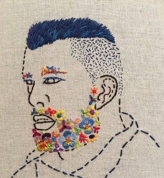 Rebecca Levi, Flower Beard, Blue Mohawk, 2016
