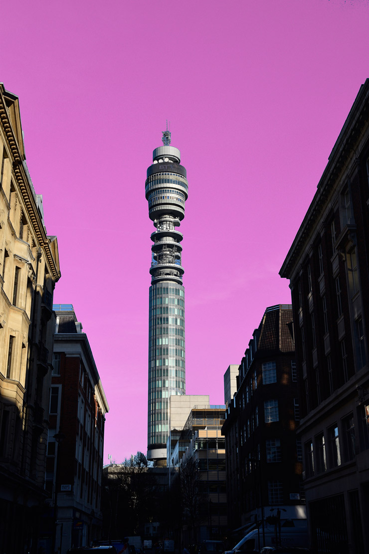 Pink BT Tower London by Suzie Pindar