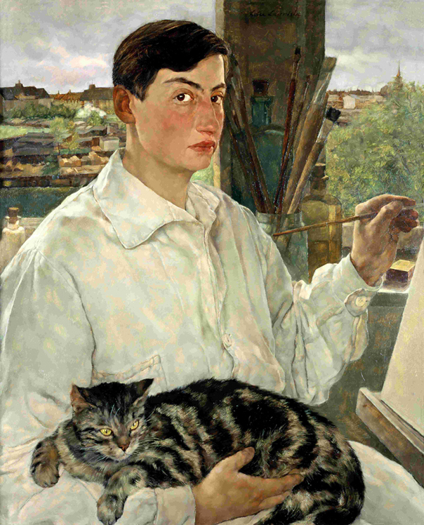 """Self-portrait with a cat"" by Lotte Laserstein (1923)"
